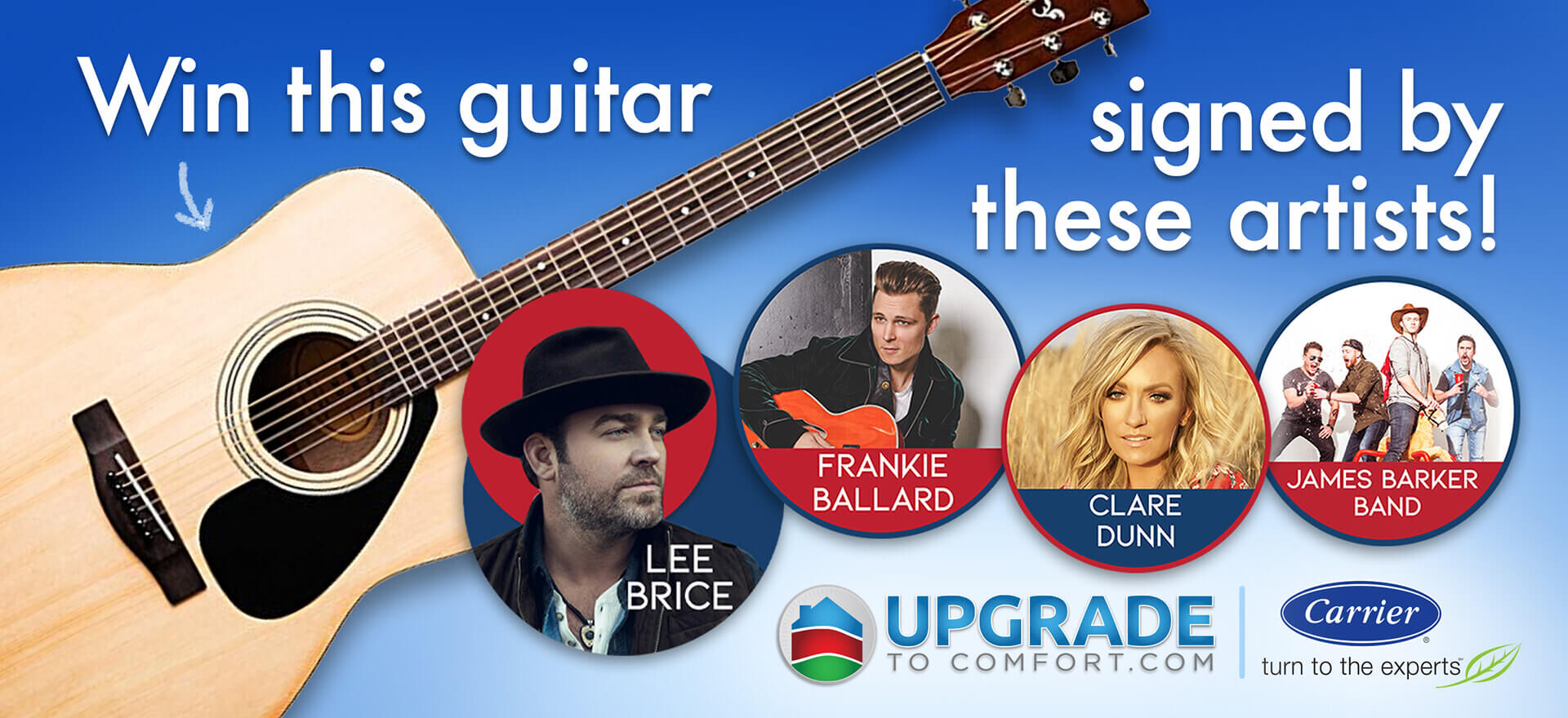 Win this guitar signed by Lee Brice, Frankie Ballard, Clare Dunn, and James Barker Band